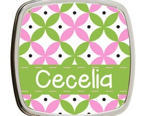 green and pink preppy double sided makeup mirror, holiday stocking stuffer, tween girl gift, bridesmaid gifts, personalized mirror