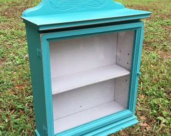 Shabby Chic Cabinet, Turquoise Cabinet, Shabby Chic Decor, Home Decor, Ivory Cabinet, Country Decor, Cottage Decor
