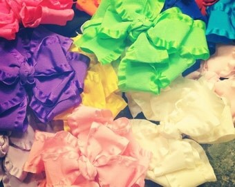 4.5 inch double ruffle bows set of 5, double ruffle bows