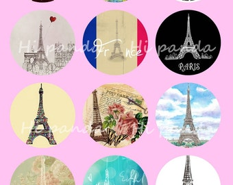 Eiffel Tower Digital Collage Sheets, 25mm Paris Printable Download Circles,Nature Scenery Round Image Pendant,Cabochon,Bottle Caps,Button