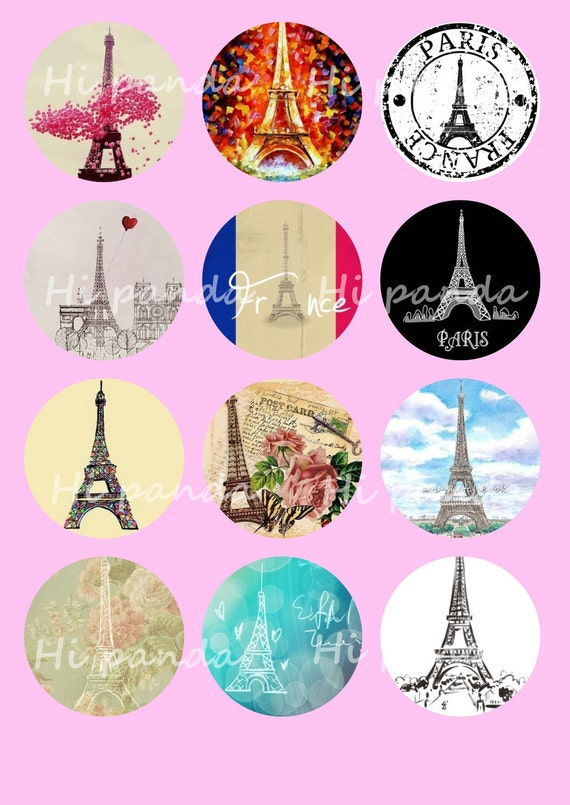 Eiffel Tower Digital Collage Sheets, 25mm Paris Printable Download Circles,Nature Scenery Round Image Pendant,Cabochon,Bottle Caps,Button