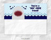INSTANT Download - Valentines Day - Printable Treat Bag Topper - PDF/JPG Included - Shark Valentine