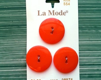 Orange buttons. Medium plastic buttons. Sewing supplies and notions.
