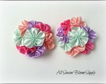 "Cluster Flowers, Satin Ribbon Flowers, Mint/Peach/HotPink/Lavender Flowers, 3.2""-3.5"" , DIY, Headbands, Accessories, HairBows"
