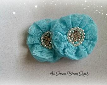 "Blue Lace Flowers, Beaded Lace Chiffon Flower, Fabric Flower, Pearl Rhinestone Flowers, Rosettes, Headband, Supplies, DIY, 3.3""-3.5"""