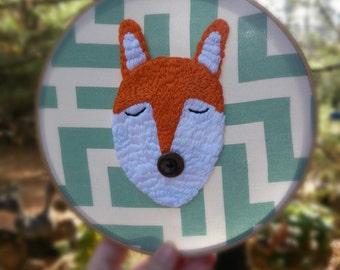Sale!!  FRANKIE Fox. Embroidery Hoop Art.