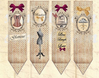 4 bookmarks - Digital image bookmark boudoir, scrapbooking, printable collage, printable bookmark, digital collage, digital image