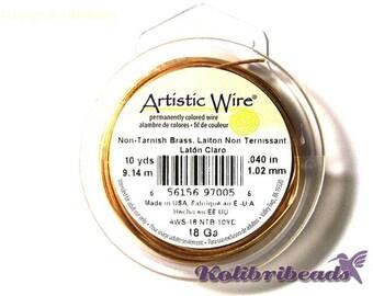 1x Artistic Wire Non-Tarnish Brass Craft Wire 1mm (18Ga) 9.14 m