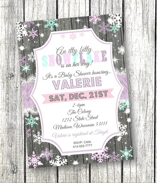 snowflake baby shower invitation winter wonderland by pinkpoproxx