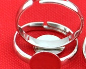 Ring Blanks Adjustable -50 pcs White K Plated Adjustable Ring Base Flat Pad 12mm,DIY Accessory Jewelry Making------G1288