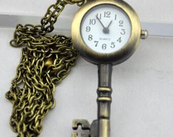 1 PC of Antique Bronze Key Pocket Watch Necklace Pendants ---25x54mm---A005