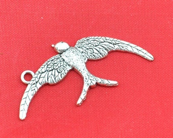 20pcs of  Antique Silver  Swallow Bird Charm Pendant Sparrow Charms  ---24*46mm-----G1378