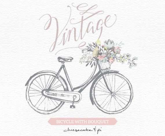 Vintage Bicycle With Floral Bouquet Clipart / Wedding Invitation Clip Art  Graphics / Commercial Use / Rustic / CM0062a