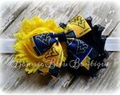 West Virginia University Mountaineers Bow & Flowers headband
