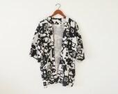 SALE ~ Vintage kimono jacket / black and white rope