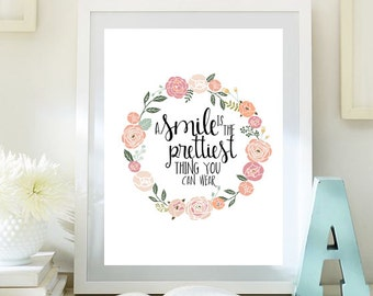 Motivational Art romantic quote A Smile Is The Prettiest Thing print Inspirational Print Teen Room Decor digital  Dorm wall art ID6small