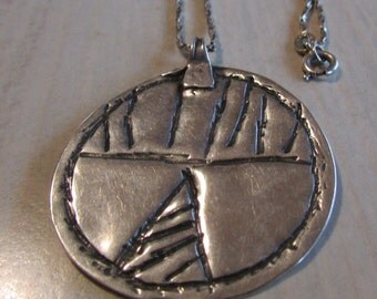 Round Silver Pendant with Geometric Design and Sterling Silver Chain