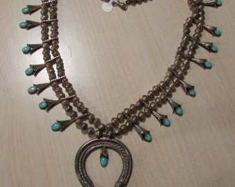 Sterling Silver and Turquoise Navajo Squash Blossom Necklace