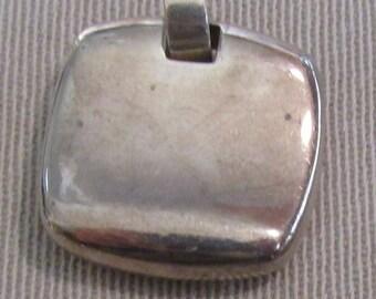 Interesting Sterling Silver Square Pendant