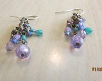 Dangling Handmade Beaded Earrings Turquoise and Purple