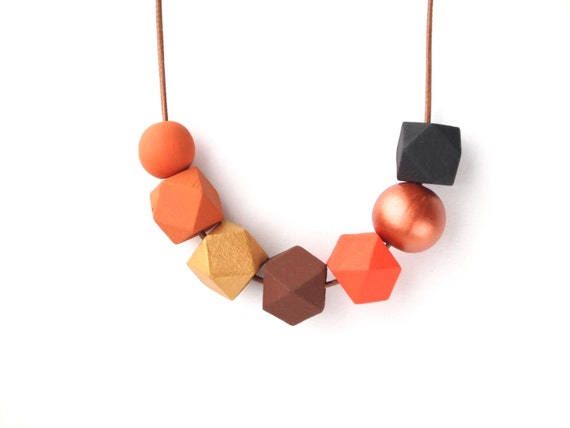 Wooden Necklace - Orange Black Geometric Beaded Necklace - Wooden Beads Necklace - Geometric Jewelry - Orange Gold Brown Copper Black