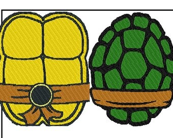 2 patterns ninja turtle shells front back embroidery With ninja turtle shell template