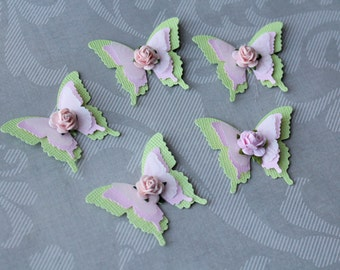 Set of Elegant Butterflies with roses Scrapbooking /3D Butterflies/ Wedding Decoration/Party decoration
