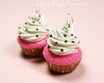 Pink Gold Cupcake Earrings Chocolate Sprinkles Miniature Food Jewelry Polymer Clay Food Handmade Gift Girl