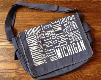 Detroit Bus Scroll Distressed Messenger Bag
