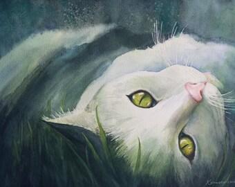 """Cat """"Lyin' in the Sun""""  watercolor 11 X 14"""" print"""