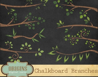 Chalkboard Branches Clipart, Chalk Branch Clipart - Forest woodland digital chalk overlays, PNG Clip Art instant download commercial use