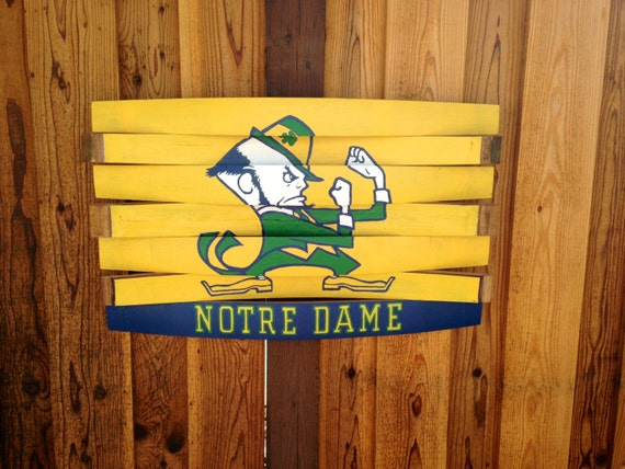 Notre dame fighting irish wood wall hang wine barrel art for Notre dame home decor
