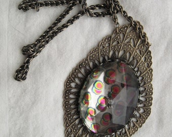 Iridescent Glass Necklace -- 167