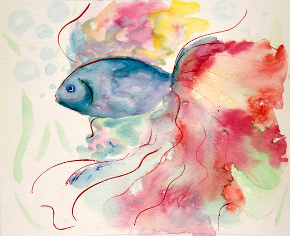 ORIGINAL fish painting,Fish painting,watercolor painting,Fish portrait,nursery decor,kids room decor,original watercolor painting,sea