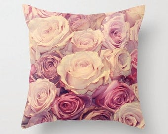 Rose Decorative Throw Pillow Cover, Pink, Paris Decor and Bedding, 16x16, 18x18, 20x20, 24x24