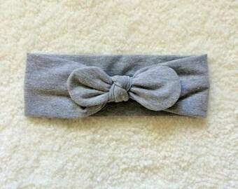 Heather Grey Knot Headband- Sizes newborn- toddler
