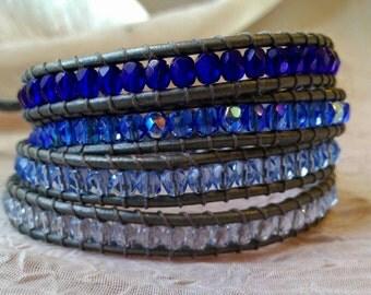 Leather Wrap Bracelet - Blue Gradient, Ombre Wrap Bracelet