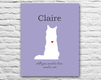 Cat Memorial - Cat Lady Gift - Kitten Print, 100% Customizable 8x10 Silhouette Cat Quotes, Funny Cat Animal Lover Gift Pet Gifts for Mom