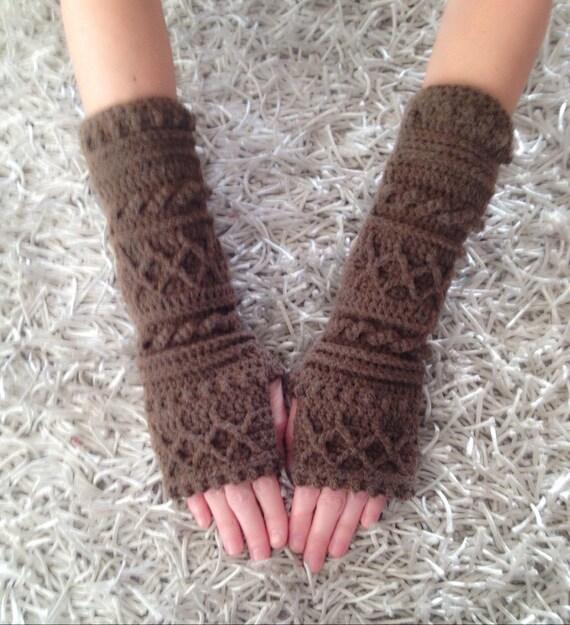 Outlander Inspired Fingerless Cabel Long Gloves By Crochelly