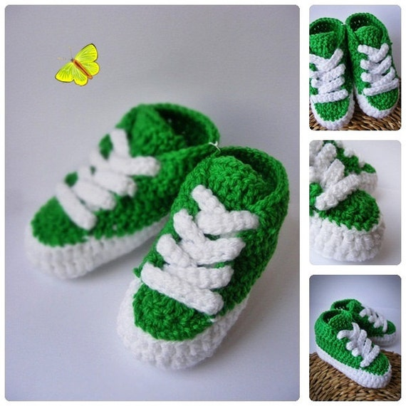Green Crochet Baby Trainers Newborn Crochet Shoes by ...