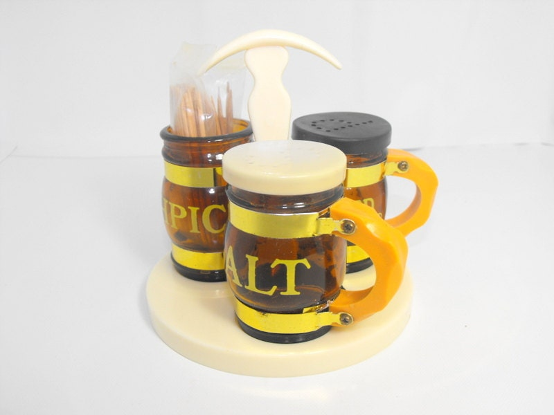 Vintage salt and pepper shaker set with toothpick holder mini - Toothpick shaker ...