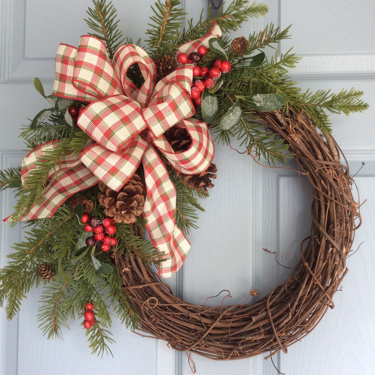 Christmas Wreath Rustic Wreath Holiday Wreath Winter