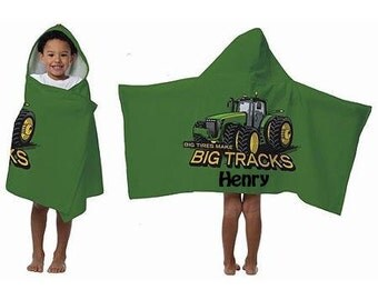 BOYS Hooded Beach Towel Wrap – John Deer Personalized