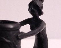 SALE - Art Nouveau Figural Candle Holder / Antique Chamberstick - WMF Style