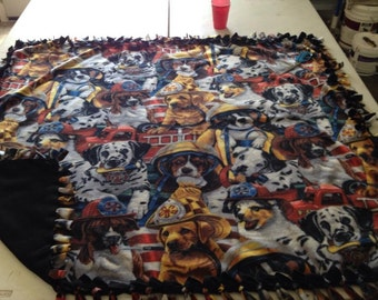 Double sided, hand tied fleece dog print blankets.