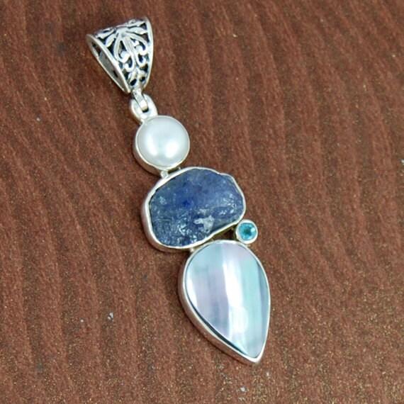 Pearl Tanzanite: Tanzanite Blue Topaz Pendant Mabe Pearl By