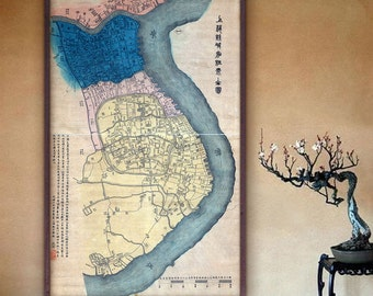 "Map of Shanghai 1884, Old Shanghai map in 4 sizes up to 36x60"" (90x150 cm) Large vintage map of Shanghai, China - Limited Edition of 100"