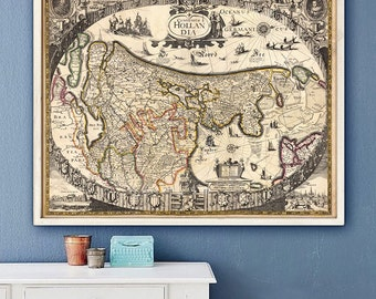 "Map of Holland 1630, Baroque Dutch map, 4 sizes up to 45x36"" (110x90cm) Large map of Holland in the Netherlands - Limited Edition of 100"