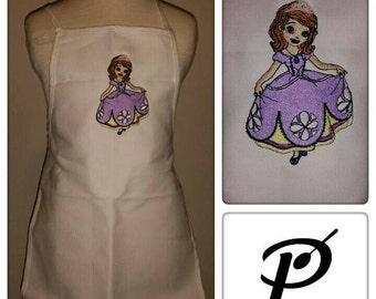embroidered Sophia the first inspired kids apron for painting, cooking, art and crafts and gardening