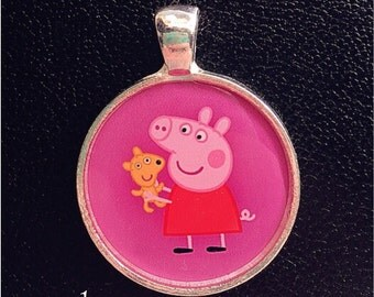 Peppa Pig necklace pendant Inspired Pendant Charm cabochon for Chunky Bubblegum necklaces Peppa Pig pendant